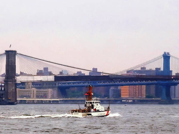 Photograph - Boats - Coast Guard Cutter Near Brooklyn Bridge by Susan Savad