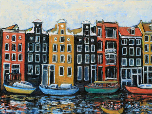 Painting - Boats In Front Of The Buildings Vi by Xueling Zou