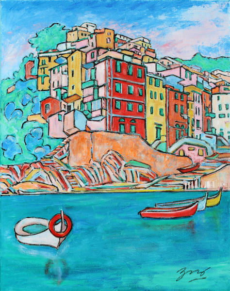 Painting - Boats In Front Of The Buildings X by Xueling Zou