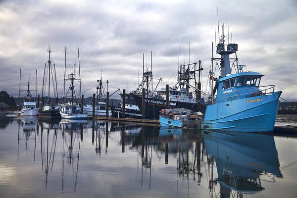 Central Oregon Photograph - Boats In Harbor Newport Oregon by Carol Leigh