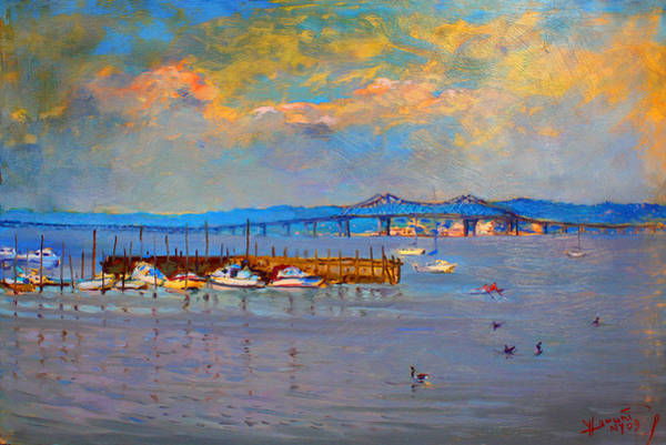 Hudson Painting - Boats In Piermont Harbor Ny by Ylli Haruni