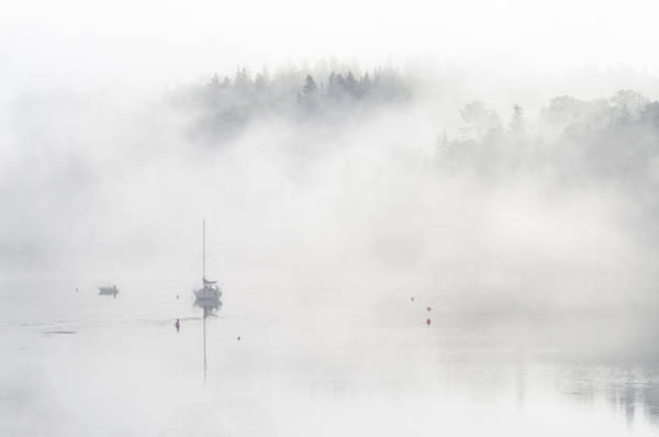 Photograph - Boats In The Mist 3. Tantallon. Nova Scotia. by Rob Huntley