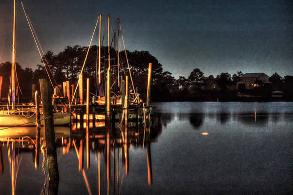 Digital Art - Boats In The Moon Light by Michael Thomas