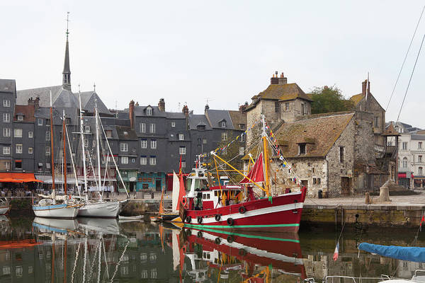 Harbor Photograph - Boats In The Old Port Of Honfleur by Studio Box