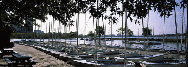 Wall Art - Photograph - Boats Moored At A Dock, Charles River by Panoramic Images