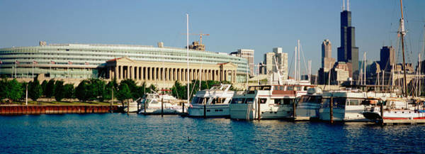 Soldier Field Photograph - Boats Moored At A Dock, Chicago by Panoramic Images