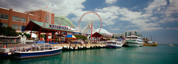 Boat Ride Wall Art - Photograph - Boats Moored At A Harbor, Navy Pier by Panoramic Images