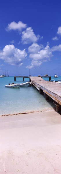 Sea Of Serenity Photograph - Boats Moored At A Pier, Sandy Ground by Panoramic Images