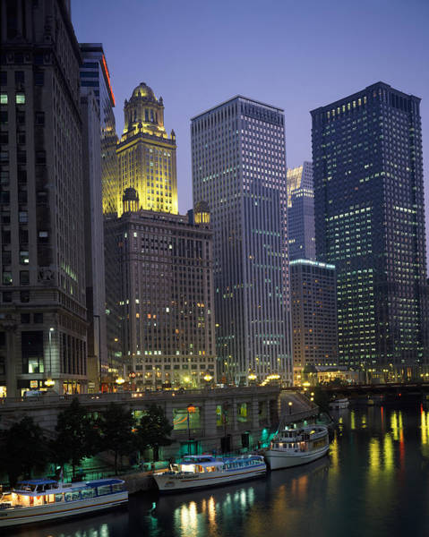 Wabash Avenue Wall Art - Photograph - Boats Moored At The Riverside, Chicago by Panoramic Images