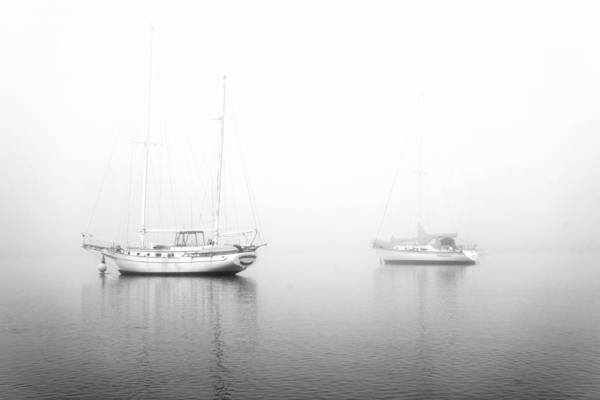 Photograph - Boats On A Foggy Morning In Black And White by Priya Ghose