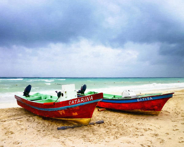 Photograph - Boats On A Stormy Beach In Mexico by Mark E Tisdale
