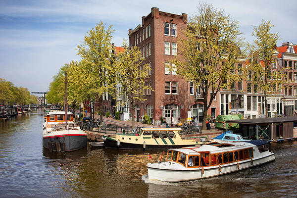 Prinsengracht Photograph - Boats On Amsterdam Canal by Artur Bogacki