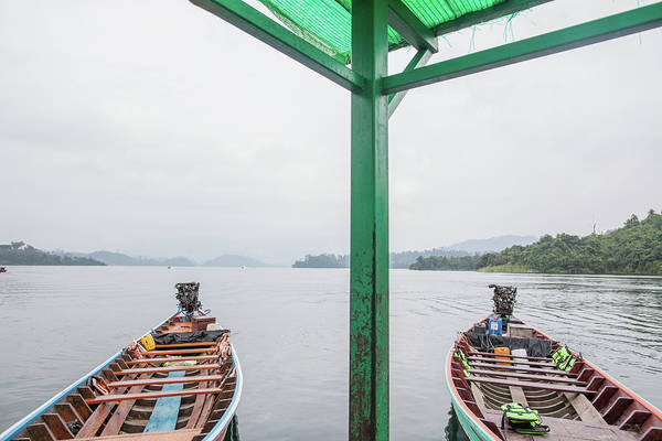 Boats On Chieow Laan Lake, Khoa Sok Art Print