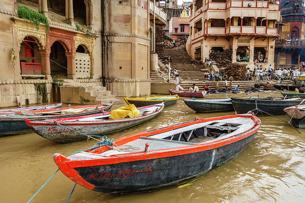 Ganges River Photograph - Boats On River Ganges, Varanasi, India by Ali Kabas