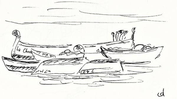 Spanish People Drawing - Boats On The Beach Carihuela In Torremolinos by Chani Demuijlder