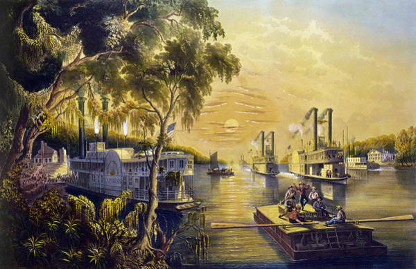 Wall Art - Painting - Boats On The Mississippi by Granger
