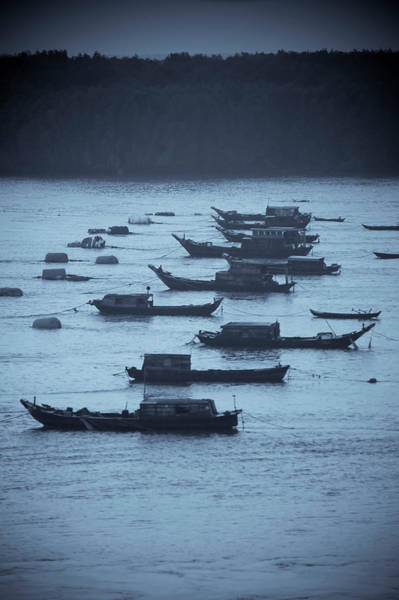Wall Art - Photograph - Boats On The Saigon River Near Ho Chi by Jonathan Kingston