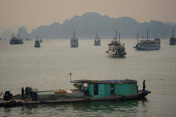 Fishing Boat Photograph - Boats Outside The Harbour, Halong Bay by Jamie Marshall - Tribaleye Images