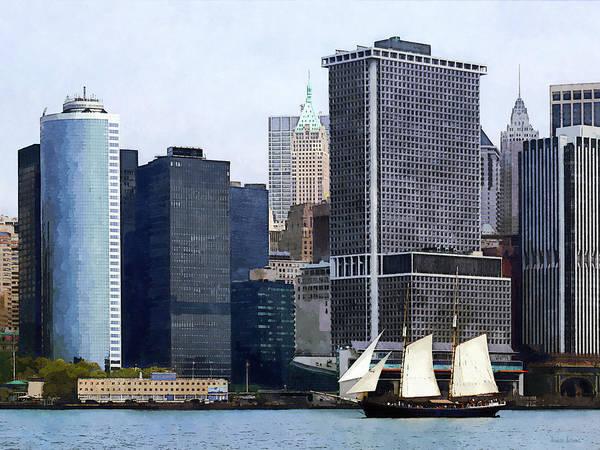 Photograph - Boats - Schooner Against The Manhattan Skyline by Susan Savad