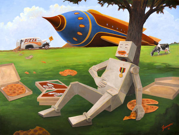 Delivery Truck Painting - Bob Blockman Discovers Pizza by Charles Fennen