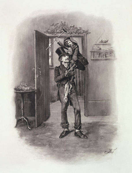 Wall Art - Drawing - Bob Cratchit And Tiny Tim by Frederick Barnard