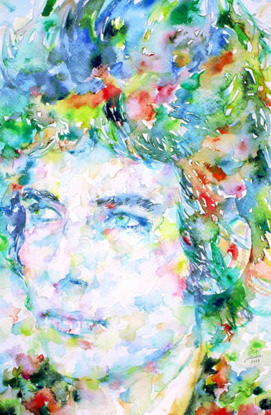 Psychedelic Image Painting - Bob Dylan Watercolor Portrait.3 by Fabrizio Cassetta