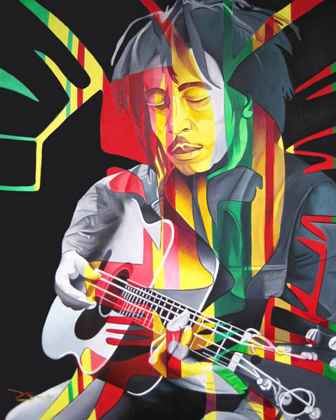 Wall Art - Painting - Bob Marley And Rasta Lion by Joshua Morton