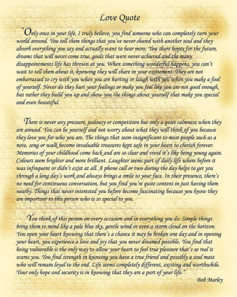 Feelings Digital Art - Bob Marley Love Quote by Frederick Kenney