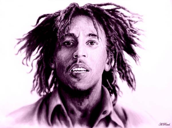 Famous People Digital Art - Bob Marley   Purple Haze by Andrew Read