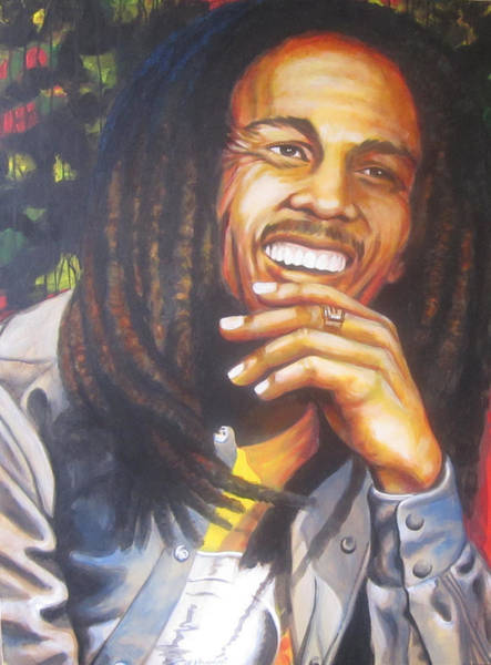 The Wailers Painting - Bob Marley Smiles by Bruce McLachlan