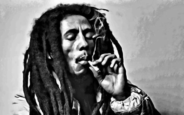 Painting - Bob Marley Smoking by Florian Rodarte