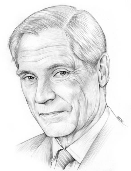 Television Drawing - Bob Simon by Greg Joens