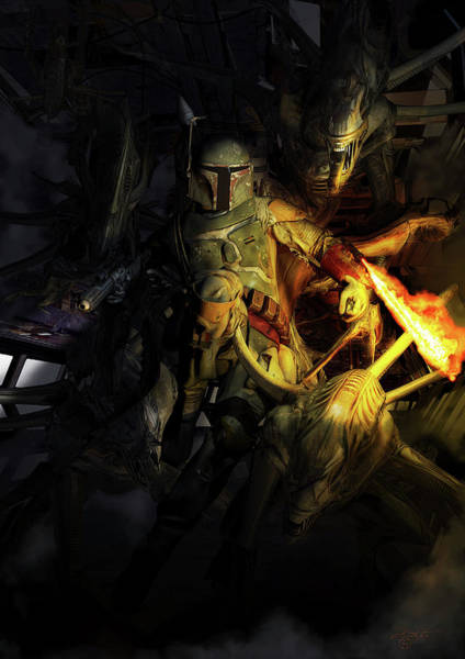 Photograph - Boba Fett Fighting Off Aliens by Kurt Miller