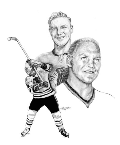 Vintage Chicago Drawing - Bobby Hull - Ageless by Jerry Tibstra