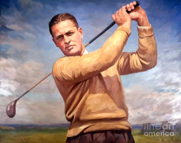 Golf Painting - bobby Jones by Tim Gilliland
