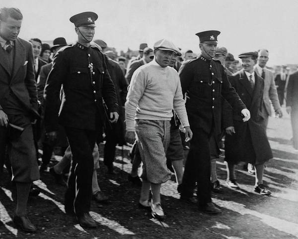 Golf Course Photograph - Bobby Jones Walking Being Escorted By Police by Artist Unknown