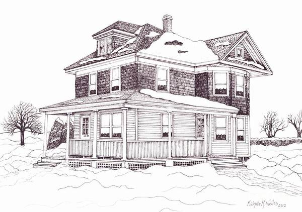 Front Porch Drawing - Bob's Grandparent's House by Michelle Welles
