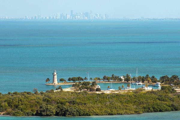 Key Biscayne Photograph - Boca Chita Lighthouse And Miami Skyline by Georgia Fowler