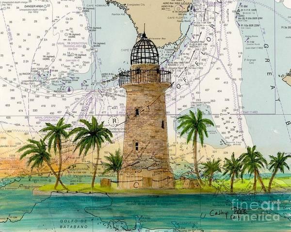 Wall Art - Painting - Boca Chita Lighthouse Fl Nautical Chart Cathy Peek by Cathy Peek