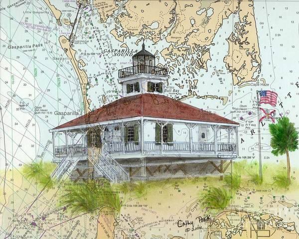 Cathy Painting - Boca Grande Lighthouse Fl Nautical Chart Map Art Cathy Peek by Cathy Peek