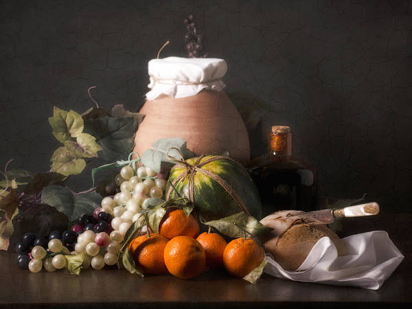 Bodegon With Grapes-watermelon And Big Jar Art Print by Levin Rodriguez