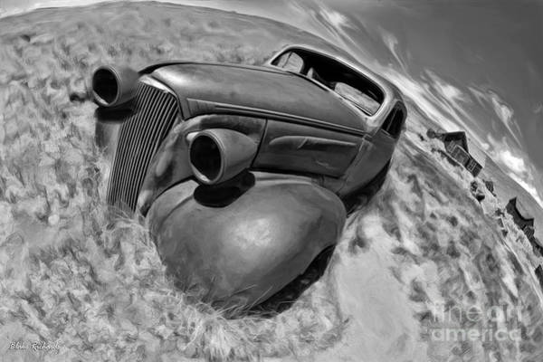 Photograph - Bodie Car Grave Yard Black And White by Blake Richards