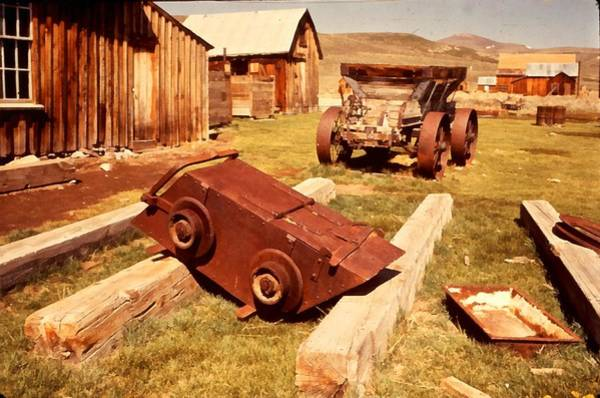 Wagon Wheel Digital Art - Bodie Ghost Town Ore Car by Dick Rowan