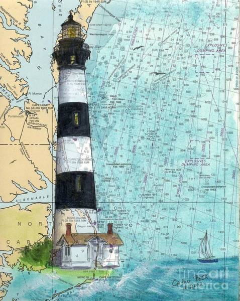 Bodie Painting - Bodie Island Lighthouse Nc Nautical Chart Map Art Cathy Peek by Cathy Peek