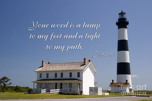 Photograph - Bodie Island Lighthouse Scripture by Jill Lang