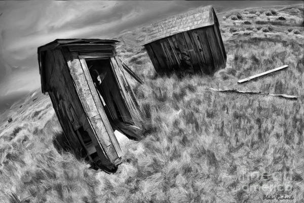 Photograph - Bodie Leaning Out House Black And White by Blake Richards