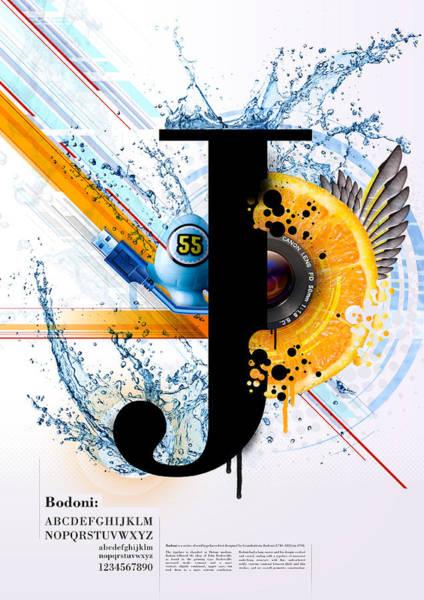 J Wall Art - Digital Art - Bodoni J by Samuel Whitton
