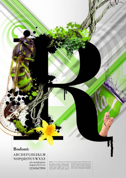 Digital Design Digital Art - Bodoni R by Samuel Whitton