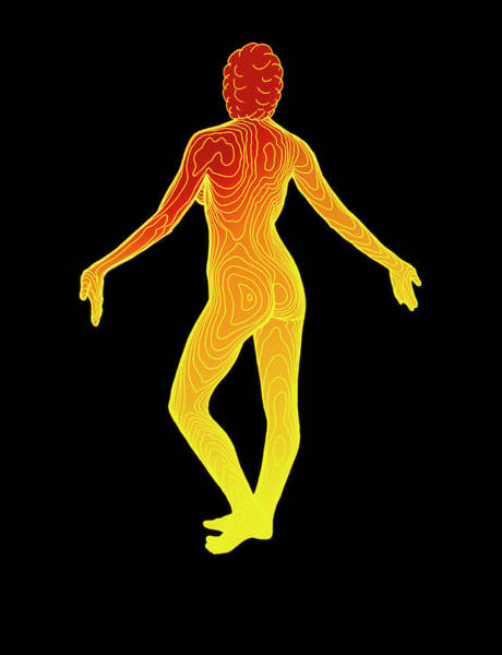 Body Contour Map Of Woman In Posterior View Art Print by Dr Robin Williams/science Photo Library