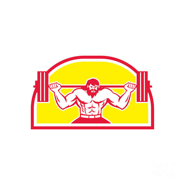 Powerlifting Digital Art - Bodybuilder Lifting Barbell Retro by Aloysius Patrimonio